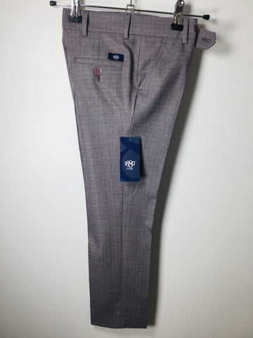 1880 CLUB BOYS LIGHT BURGUNDY/GREY CHECKED TROUSERS MAGHERAFELT