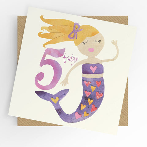 Under The Willow Tree Mermaid 5th Birthday Card Funky kids