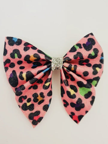 Once Upon A Bow pink Leopard Print Bow Funky kids - Magherafelt