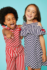Ubs2 Girls Red/White Striped Jumpsuit Funky kids