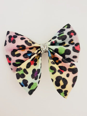 Once Upon A Bow Colour Leopard Print Bow  Funky kids - Magherafelt