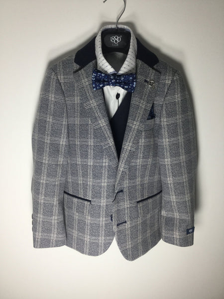 1880 CLUB BOYS NAVY/CREAM CHECK BLAZER MAGHERAFELT