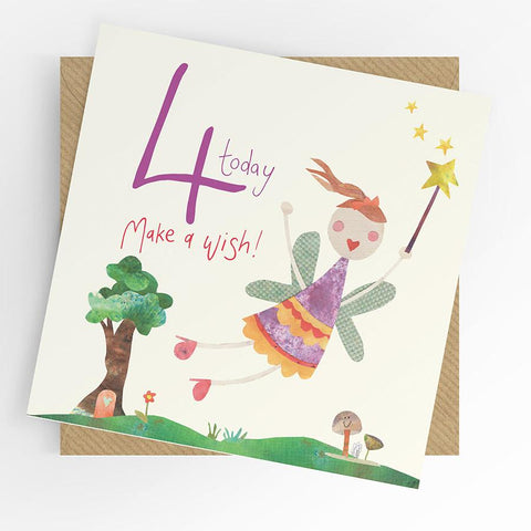 Under The Willow Tree Fairy 4th Birthday Card funky kids