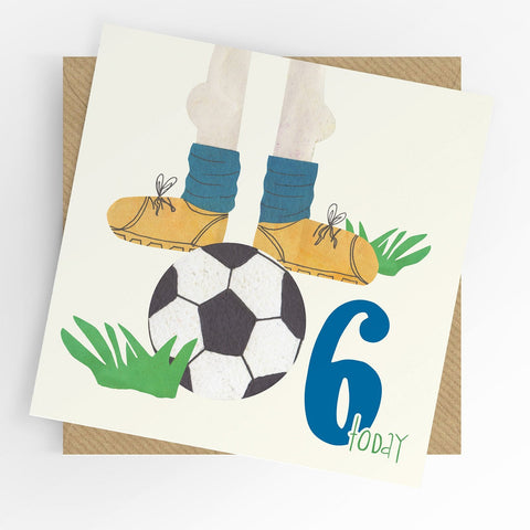 Under The Willow Tree Football 6th Birthday Card Funky kids