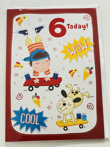 Boys Age 6 Birthday Card funky kids magherafelt