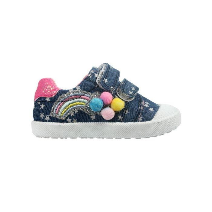 Girls Rainbow Pom Pom Shoe Funky Kids