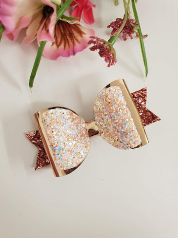 ONCE UPON A BOW GIRLS ROSE GOLD BOW