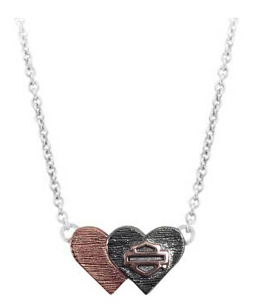 Harley-Davidson® Women's Pink & Black Double Heart B&S Necklace
