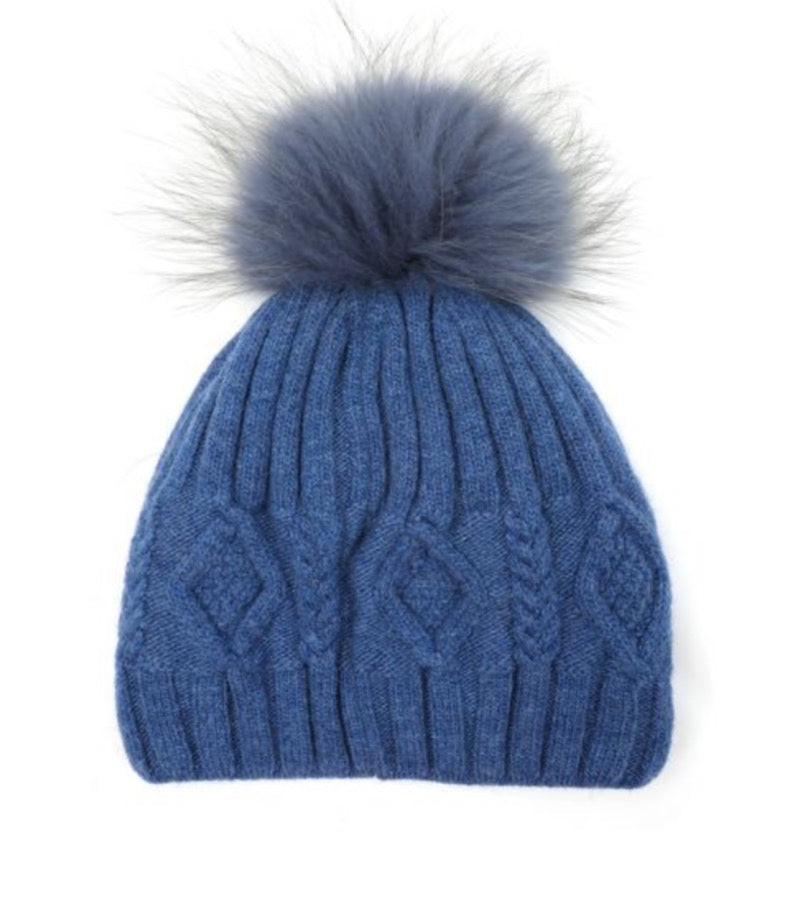 Copy of Fur Pom Pom Hat French Blue