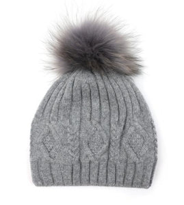 Fur Pom Pom Hat Grey