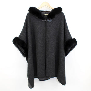 Whitney Fur Cape  Black