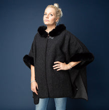 Load image into Gallery viewer, Whitney Fur Cape  Black