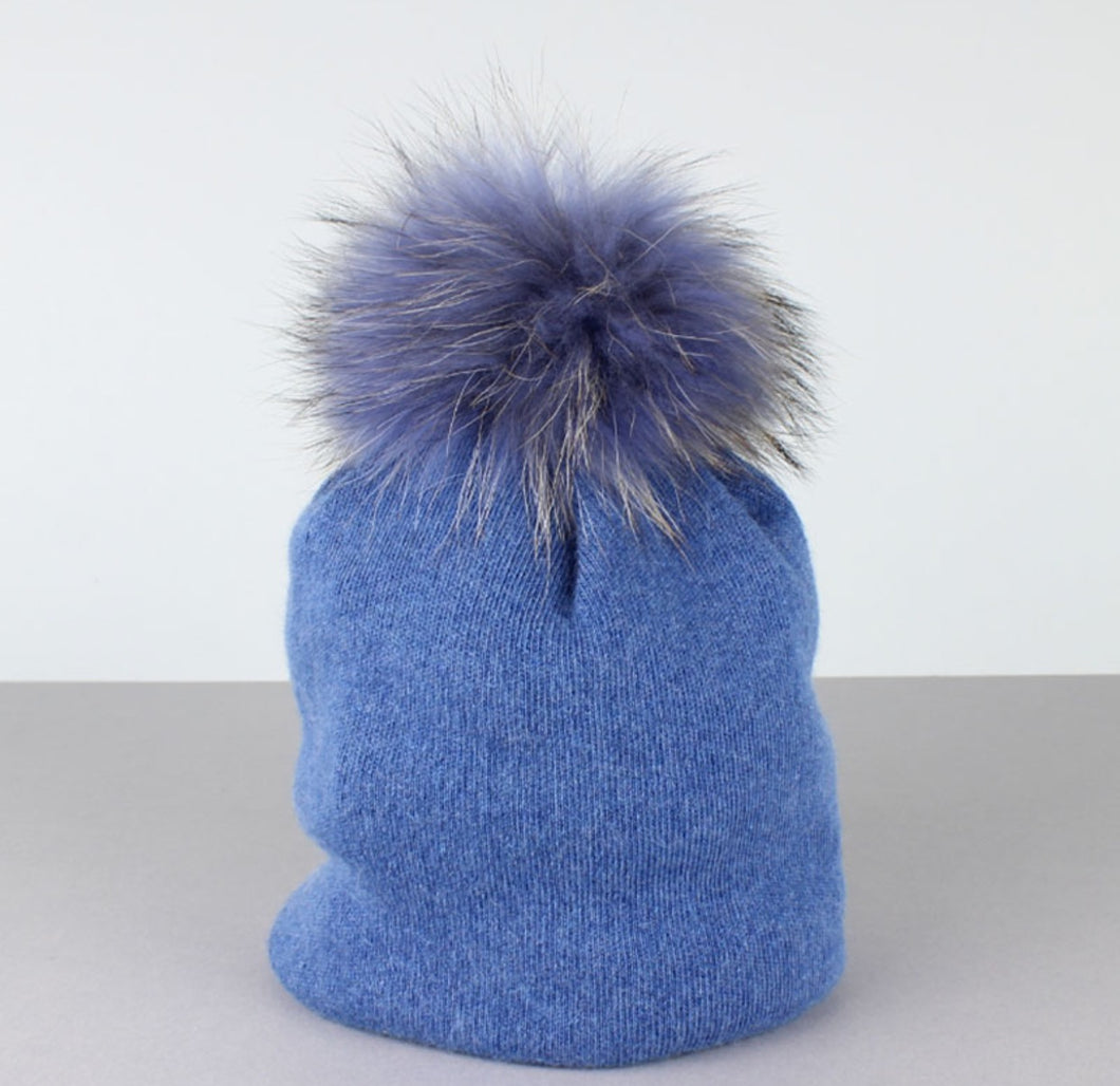 Cashmere Fur Pom Pom Hat Denim