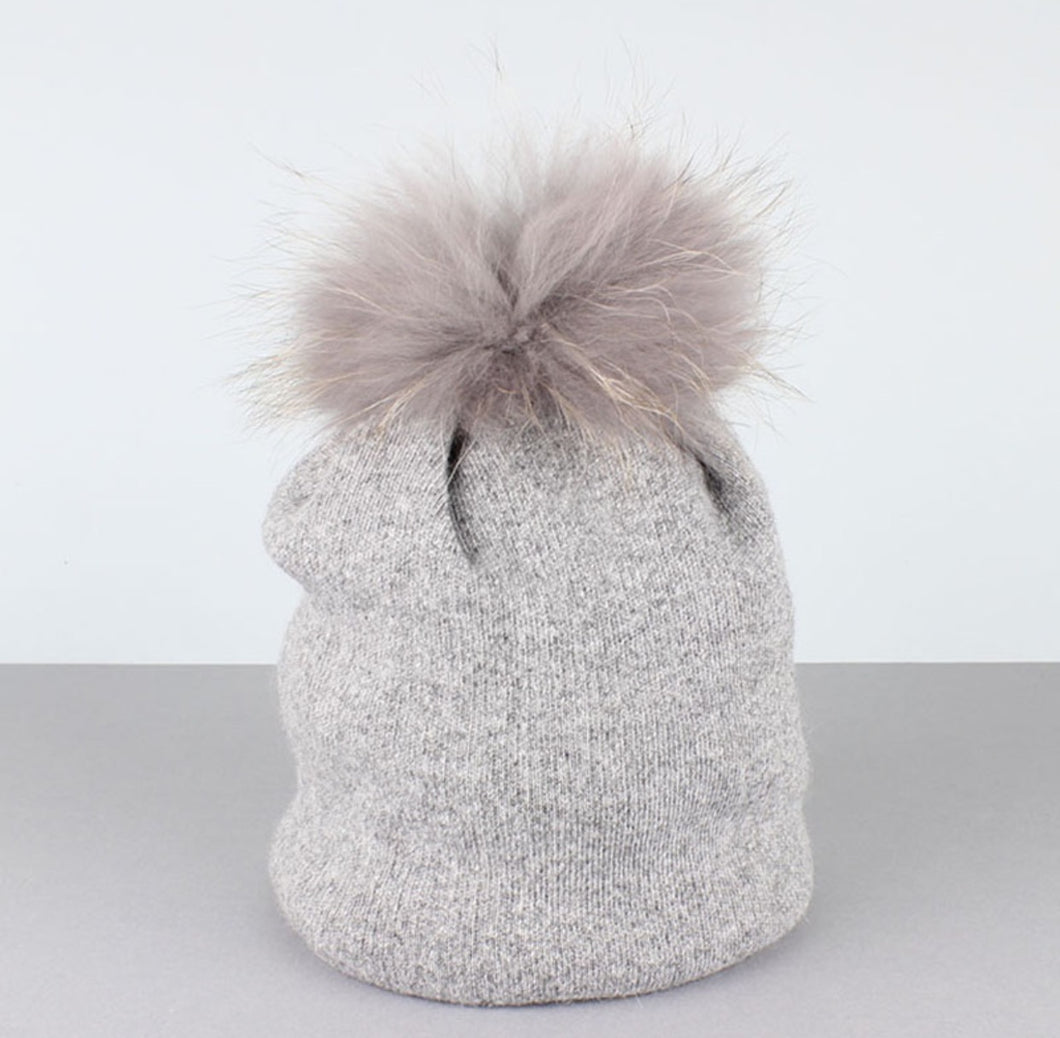 Cashmere Fur Pom Pom Hat Grey