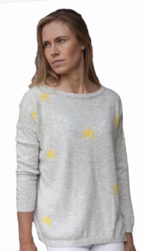 Cashmere Jumper Yellow & Grey