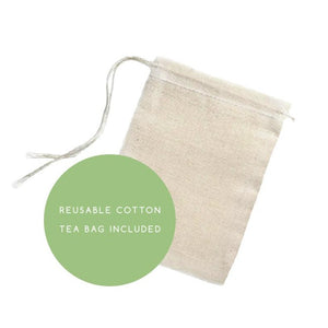 reusable cotton tea bag included
