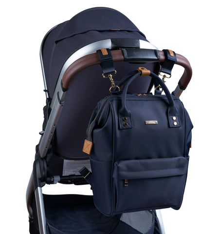 mani backpack navy blue pushchair clips
