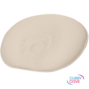CubbyCove baby pillow made with incredibly soft tencel fibers, designed to prevent positional plagiocephaly | light beige