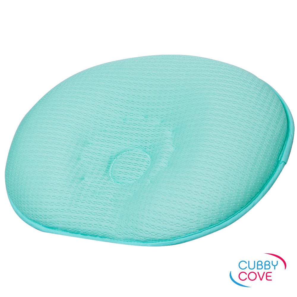 CubbyCove baby pillow made with incredibly soft tencel fibers, designed to prevent positional plagiocephaly | aqua green