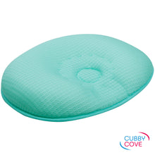 Load image into Gallery viewer, CubbyCove baby pillow side view shot | aqua green