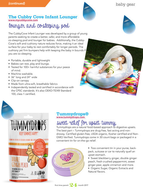CubbyCove Infant Lounger featured in first time parent magazine