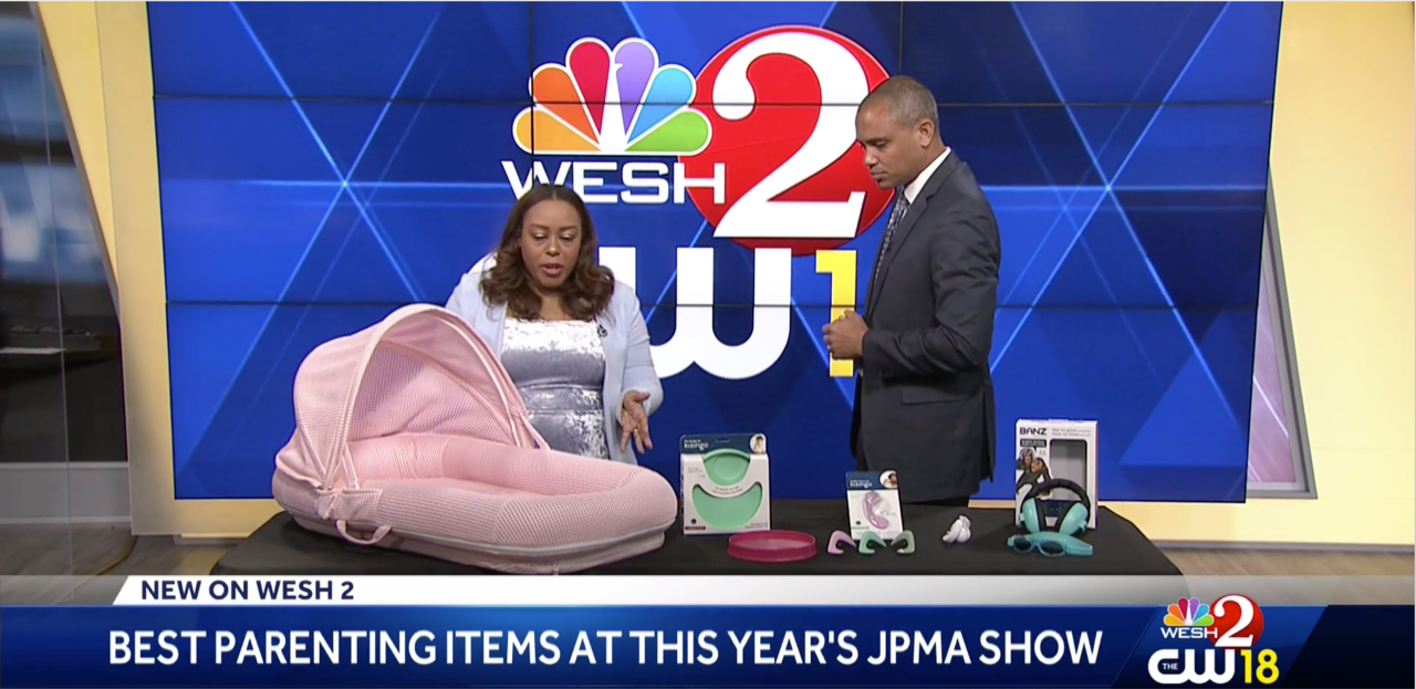 CubbyCove Plus+ Baby Lounger on WESH-TV NBC 2 during 2019 JPMA show