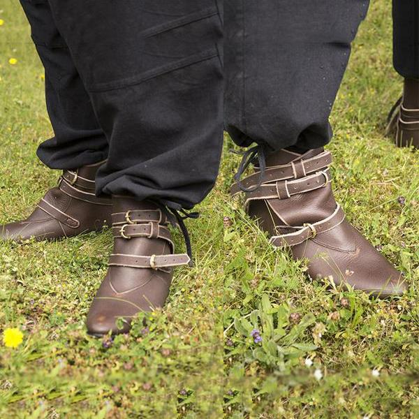 Belt Buckle Leather Flat Bottom Men's Booties
