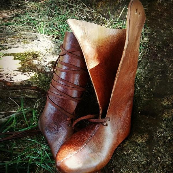 Medieval Vintage Viking Leather Tall Flat Boots