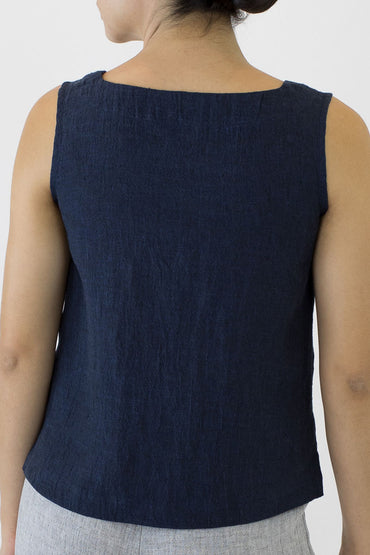 Crinkle Linen Shell Top -indigo-back view
