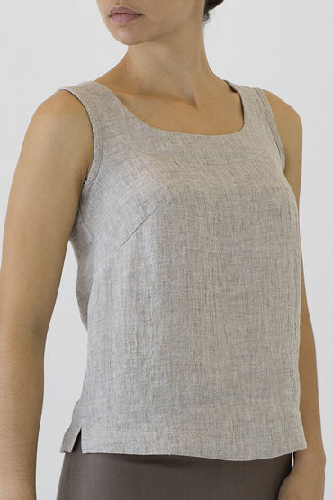 Crinkle Linen Shell Top- oakmeal -side