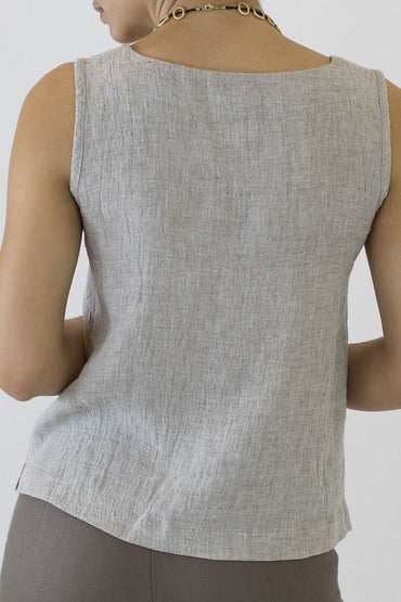 Crinkle Linen Shell Top- oakmeal -back