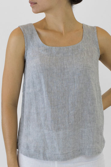 Crinkle Linen Shell Top - pale grey -front