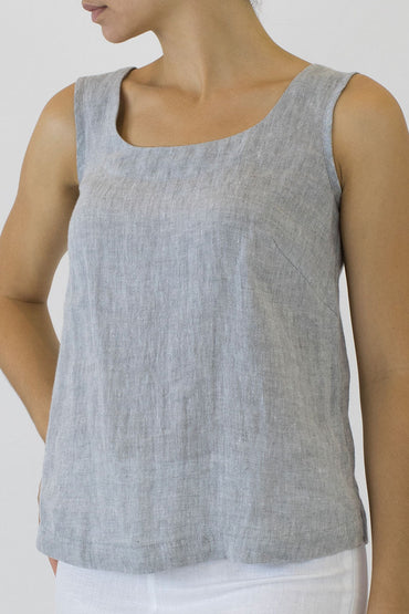 Crinkle Linen Shell Top - pale grey