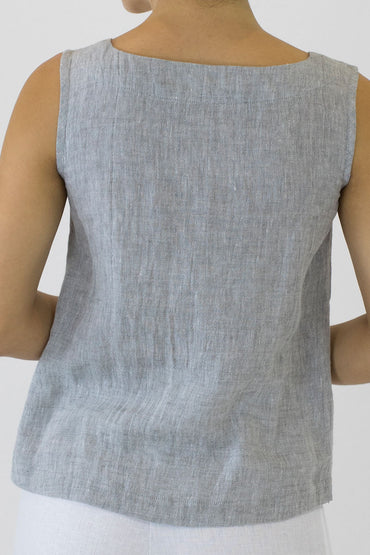 Crinkle Linen Shell Top -pale grey -back