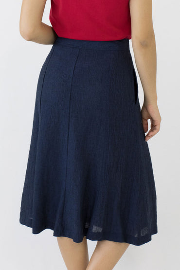 SWING SKIRT-INDIGO-BACK