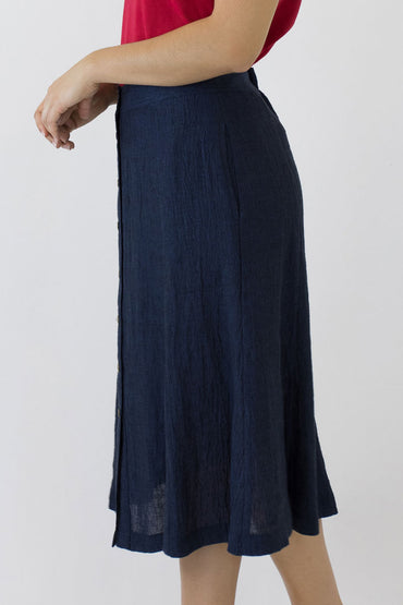 SWING SKIRT-INDIGO-SIDE POCKETS
