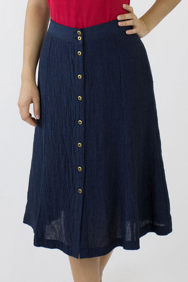 SWING SKIRT-INDIGO-BRASS BUTTONS