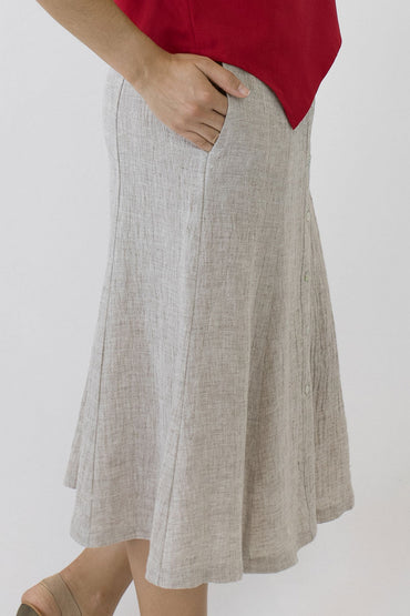 SWING SKIRT-OAKMEAL-SIDE POCKETS
