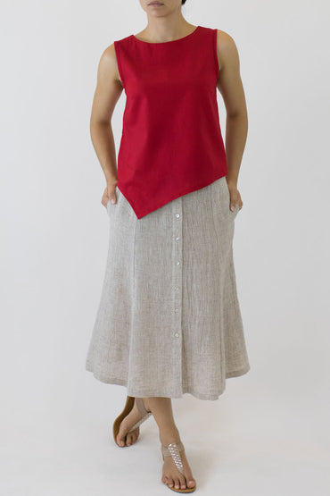 SWING SKIRT-OAKMEAL-PEARL BUTTONS