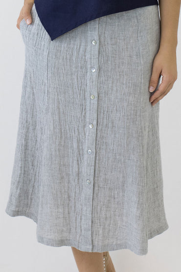 SWING SKIRT CRINKLE LINEN-PALE GREY