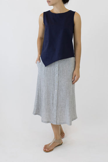 SWING SKIRT-PALE GREY-SIDE POCKETS