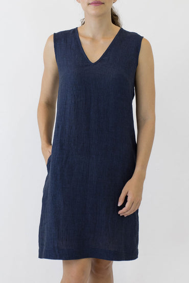 V NECK SLEEVELESS DRESS