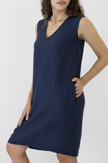 V NECK SLEEVELESS DRESS-SIDE