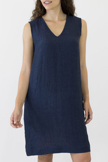 V NECK SLEEVELESS DRESS-FRONT