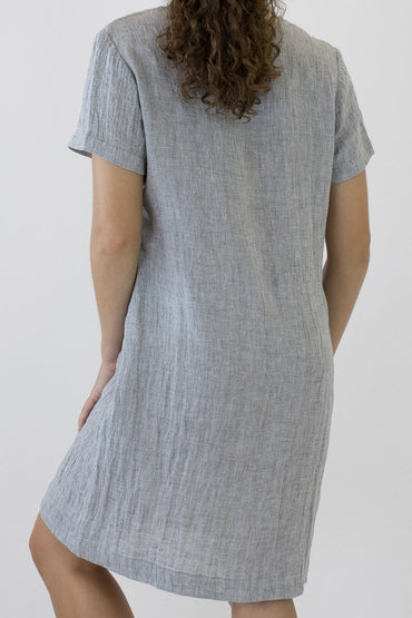 V NECK SHORT SLEEVE DRESS-back