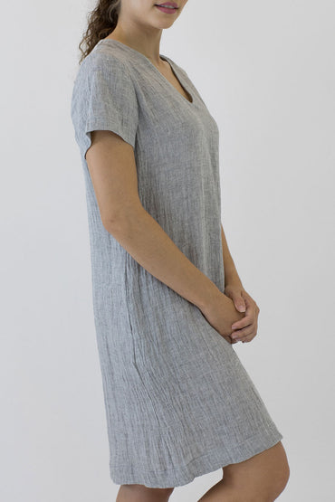 V NECK SHORT SLEEVE DRESS-side