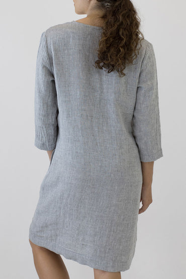 V NECK 3/4 SLEEVE DRESS-BACK