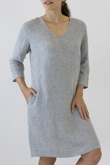 V NECK 3/4 SLEEVE DRESS AC-05