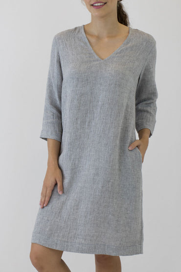 V NECK 3/4 SLEEVE DRESS-POCKETS