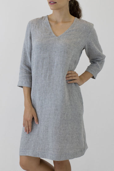 V NECK 3/4 SLEEVE DRESS-FRONT